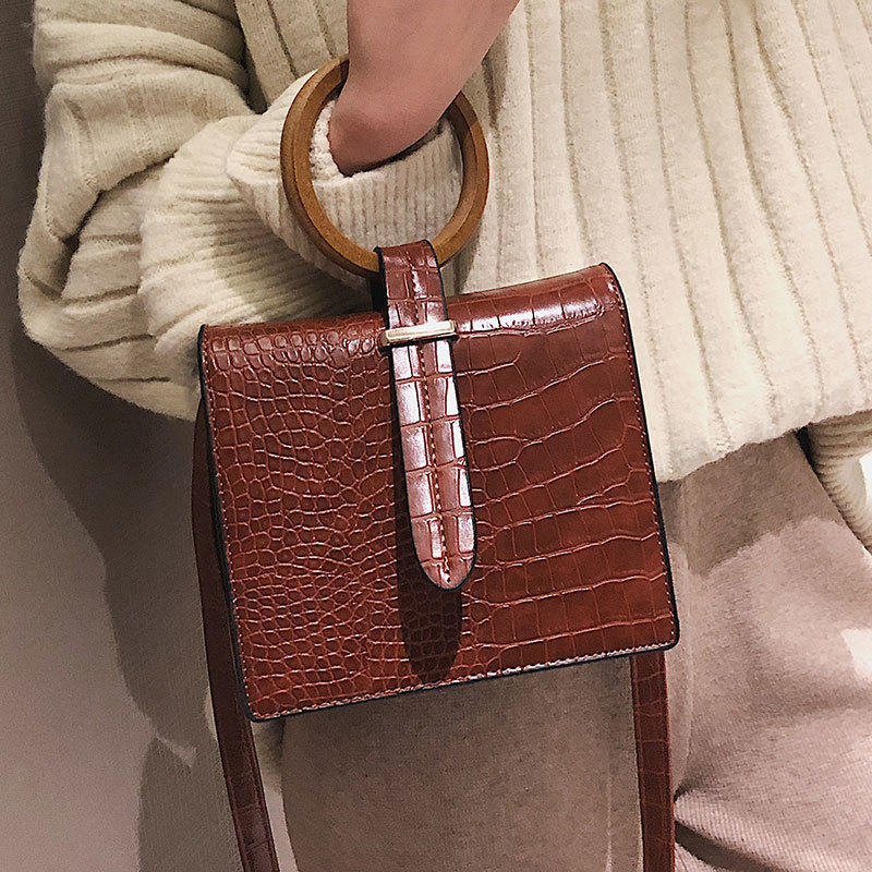 Casual Alligator Handbags Women Round Wood Handlde Crocodile Pattern Shoulder Crossbody Bags For Women Pu Leather Totes Purses