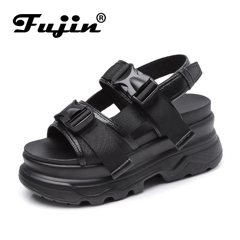 Fujin Muffin Sandals Women Shoes Female Thick New Chic Casual Sole Retro Wild-Out