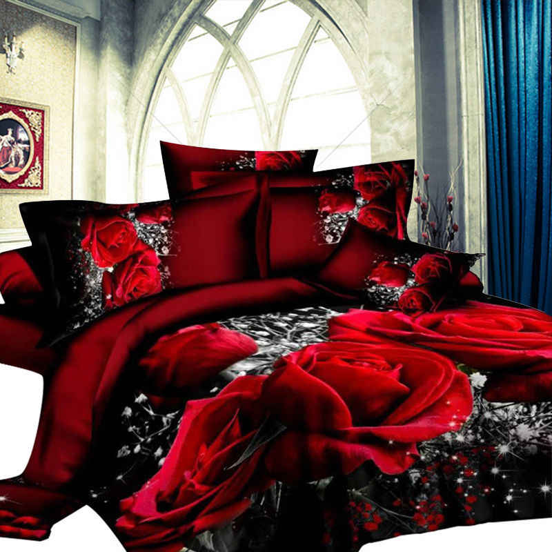 New Style  Red Flower 3D Bedding Set of Duvet Cover Bed Sheet Pillowcase Bed Clothes Comforters Cover Queen