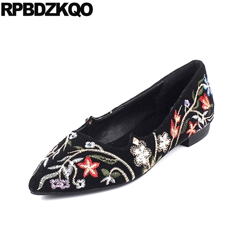 Embroidered Flower Size 43 2017 Large Slip On Black High Quality Ladies Flats Chinese Shoes Pointed Toe Suede 10 Women Drop hot sale 2016 new fashion spring women flats black shoes ladies pointed toe slip on flat women s shoes size 33 43