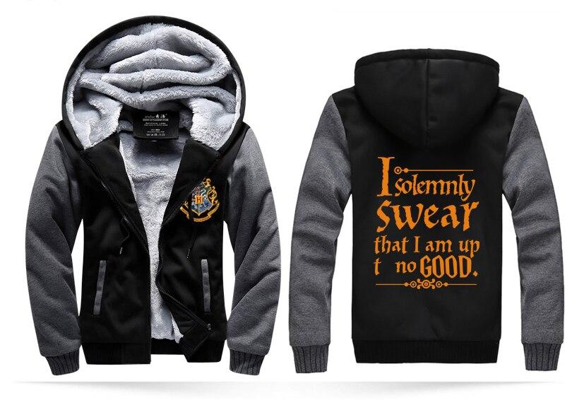 men's coats I Solemnly Swear That I Am Up No Good jacket men 2018 winter zippter fleece sweatshirt casual warm hoodies