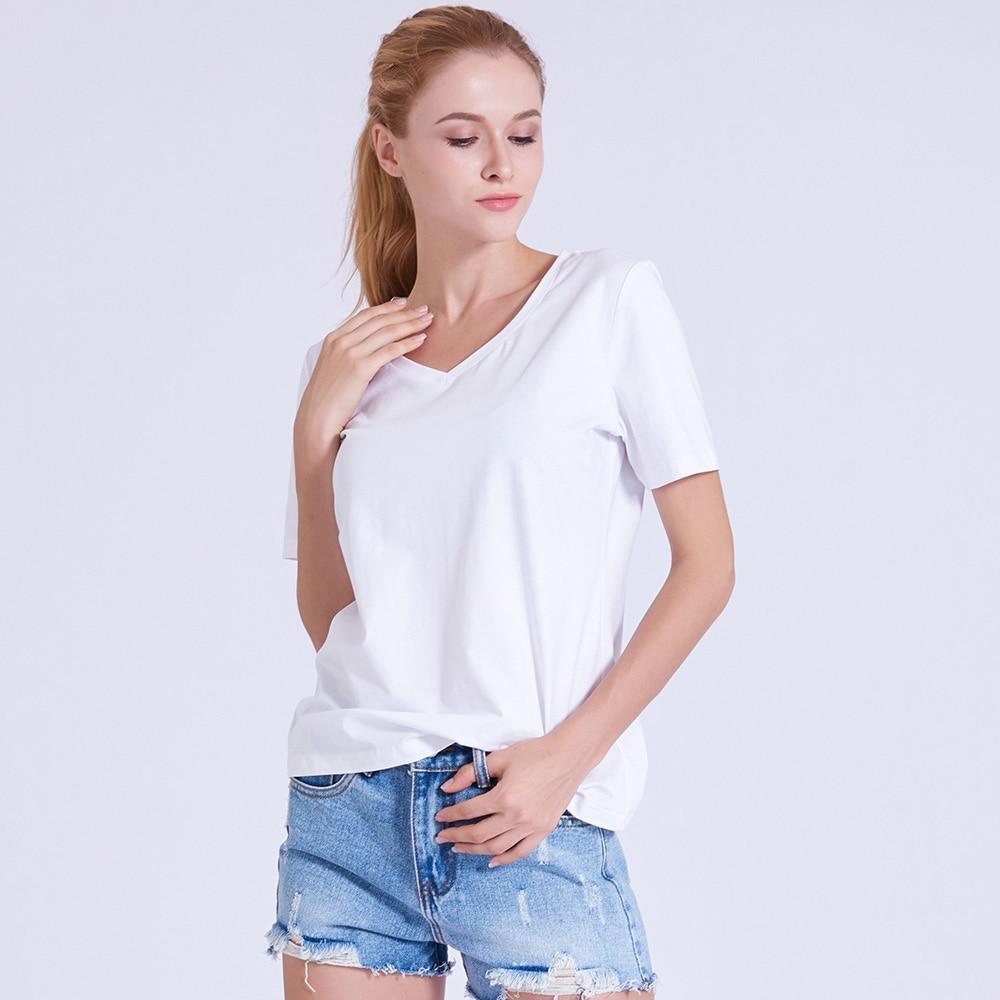 PREISEI T Shirt PIMA Cotton Tshirt Women Clothing Slim Casual Camisas Mujer V-neck Short-sleeved Summer Top White T-shirt PV101W