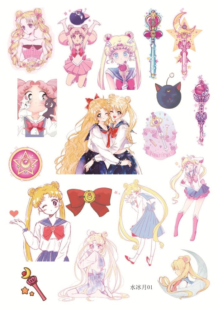 Cute Cat Girl Wallpaper Uncut A5 Sailor Moon Girl Decorative Sticker Set Diary