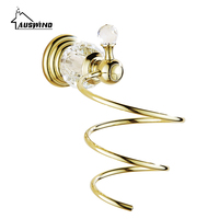 Europe Antique Chrome Crystal Hair Dryer Holder Polished Diamond & Crystal Decorate Storage Shelf Spiral Stand Bathroom Shelf