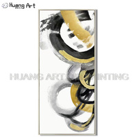Wholesale Superb Artist Hand painted Golden Black and Gray Color Modern Abstract Oil Painting Popular Big Circle Oil Picture Art
