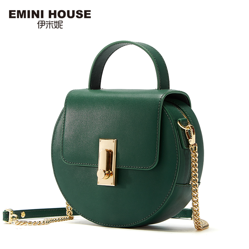 EMINI HOUSE Flap Split Leather Top-Handle Bags Chain Strap Women Shoulder Bag Round Shape Solid Color Crossbody Bags For Women