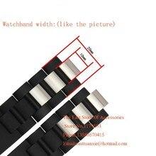 20 мм Резиновые Металла Часы Ремешок Ремешок Браслет для Часы Люксовый Бренд Белый накладкой из нержавеющей стали бусы 10 мм с раскладывающейся застежкой