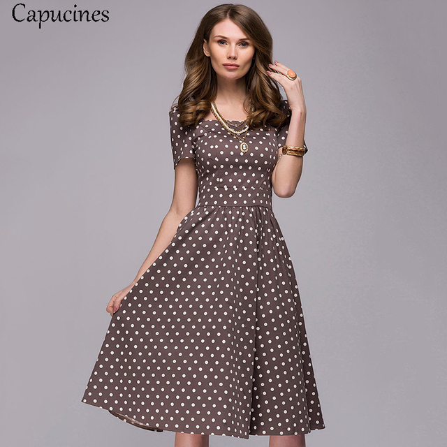 80034ea297b4 2019 Summer Women Vintage Square Collar Dress Casual Elegant Dot Printing  Short Sleeves A-Line Party Dresses Female Vestidos