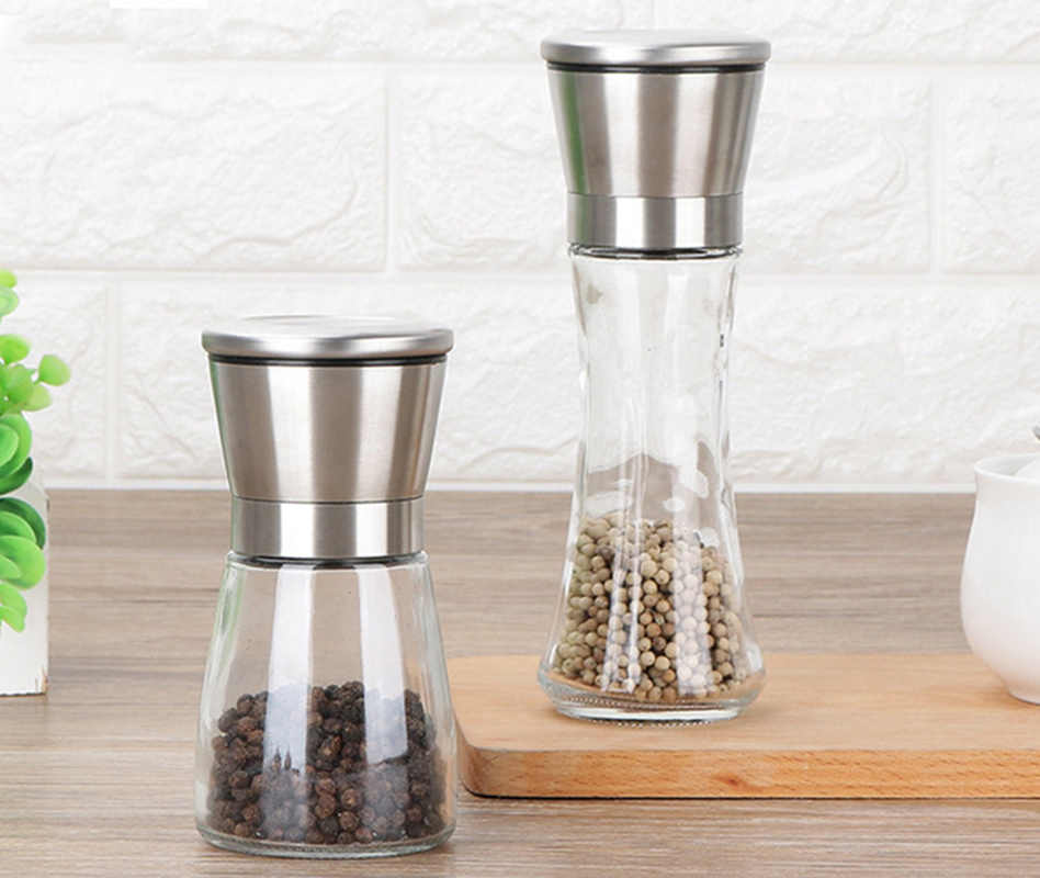 [Video]1PCS  Fashion Stainless Steel Mill Glass Body Spice Salt and Pepper Grinder Kitchen Accessories Cooking Tool