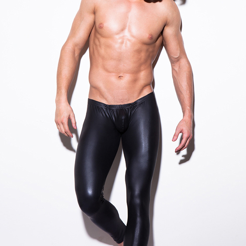 Black Faux Leather Pants Men New PU Leather Penis Pouch Pants Fashion Stage Club Wear High Quality Mens Skinny Trousers