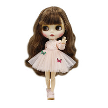 Blyth Doll Joint Body Nude Small Breast Brown Hair Matte Face for DIY ICY Neo 260BL9158(China)