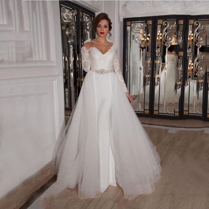 Detachable Skirt Wedding Dresses Long 2016 Mermiad Long