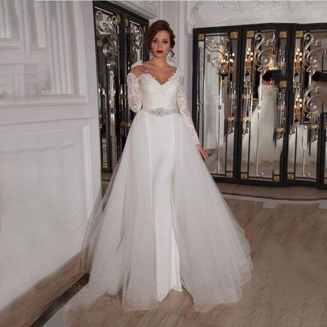 Detachable Skirt Wedding Gown: Detachable Skirt Wedding Dresses Long 2016 Mermiad Long