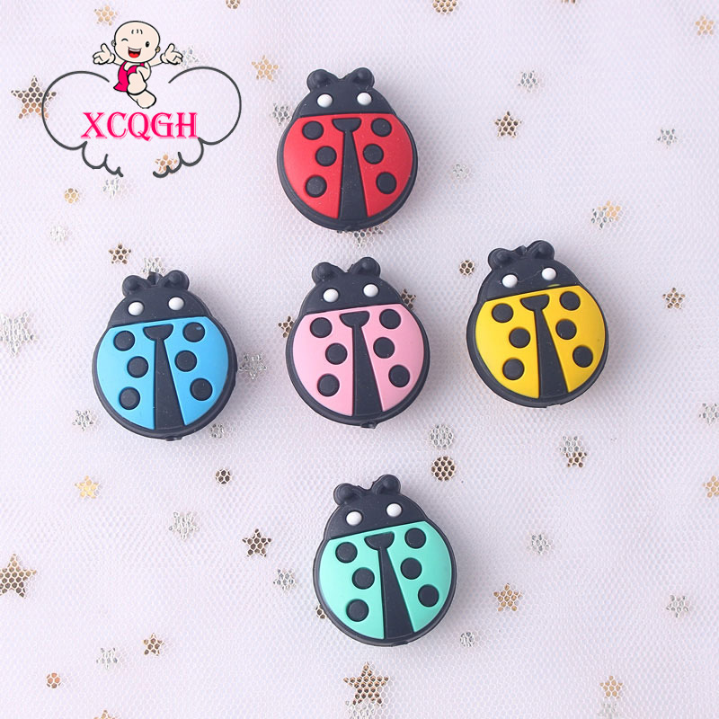 XCQGH 5PCS New Baby Teether Creative Cartoon Animals Ladybug Tooth Beads Food Grade Silicone Baby Teething Soft Baby Teethers