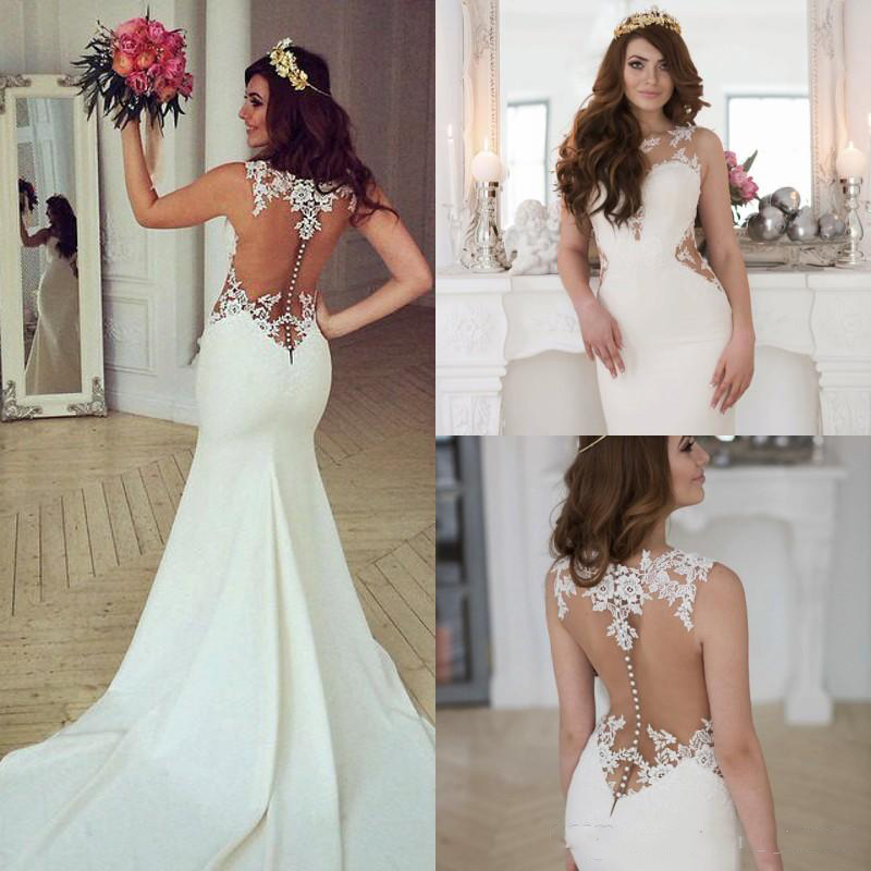 2019 Elegant Lace Wedding Dresses Sexy Back Covered Button Boho Beach Sweep Train Bridal Gowns Illusion Lace Satin Custom