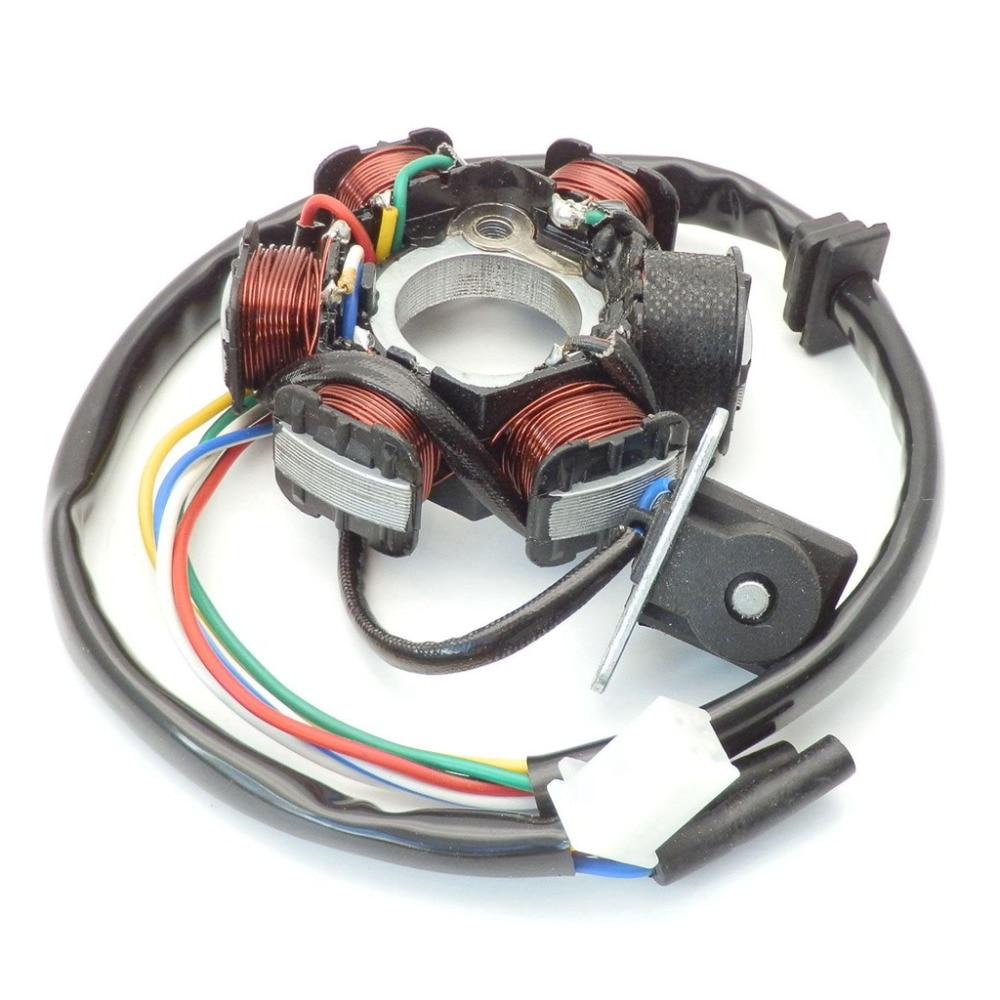 Magneto Stator 6 Pole Coil 5 Wire 50cc 70cc 90cc 110cc 125cc Lifan Linhai Scooter Wiring Diagram 06 Motor De Partida Eltrico Atv Estator Placa Bobina Ignio Do