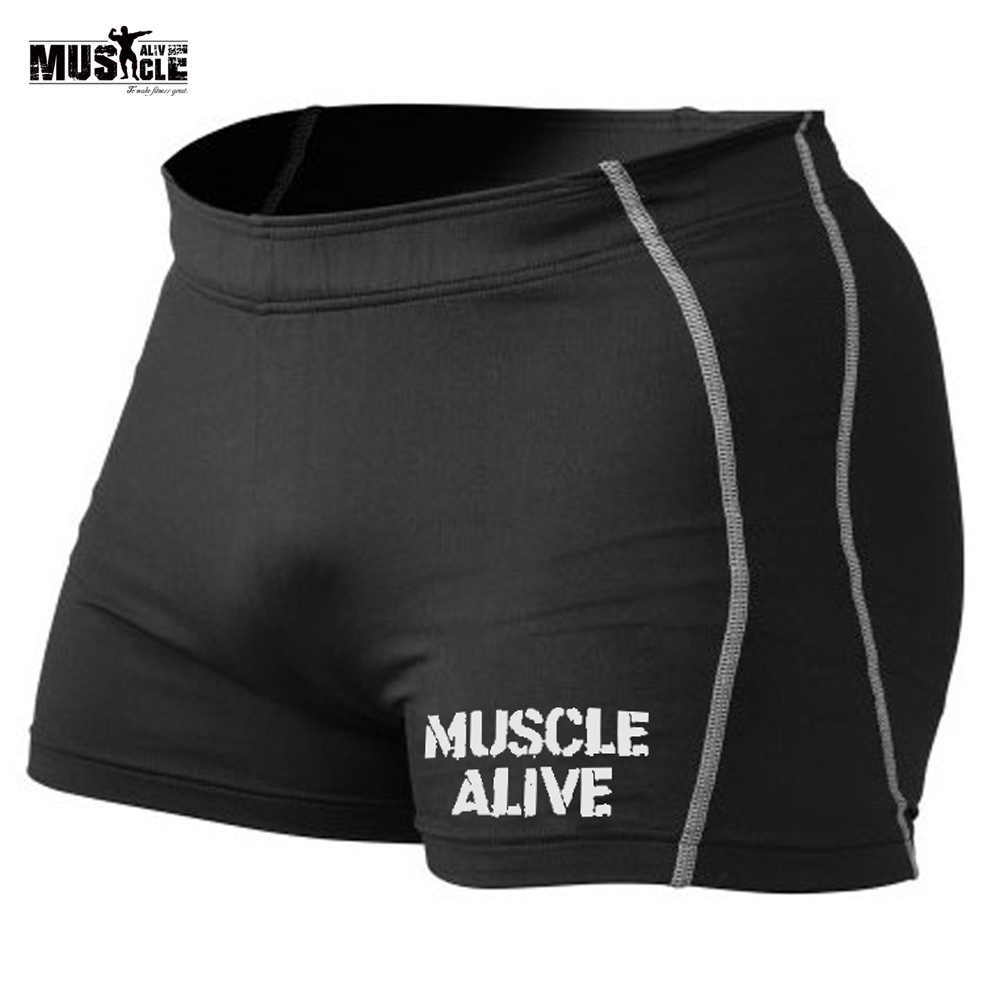 MUSCLE ALIVE Compression Shorts Men Gym Shorts Bodybuilding Brand Clothing Sporting Male Shorts Tights Bermuda Masculina Fitness(China)