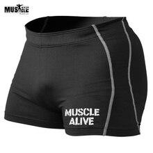 MUSCLE ALIVE Компрессионные спортивные мужские шорты, шорты, брендовая одежда для бодибилдинга, спортивные мужские шорты, трико, бермуды, мужские шорты для фитнеса