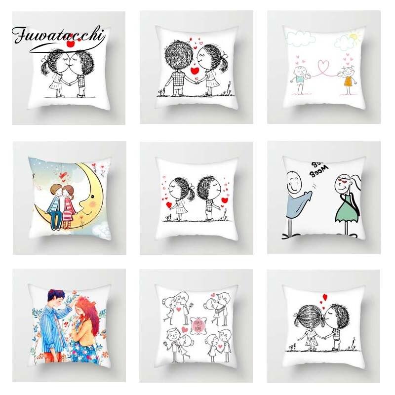 Fuwatacchi Cute Couples Cushion Cover Stick Love and Heart Pillow For Car Home Sofa Decorative Pillowcase 45cm*45cm
