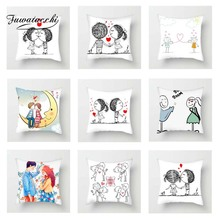 Fuwatacchi Cute Couples Cushion Cover Stick Love and Heart Pillow Cover For Car Home Sofa Decorative Pillowcase 45cm*45cm fuwatacchi home decor cartoon cushion cover cute stick figure couple image pillow cover for car sofa pillowcase 45cm 45cm