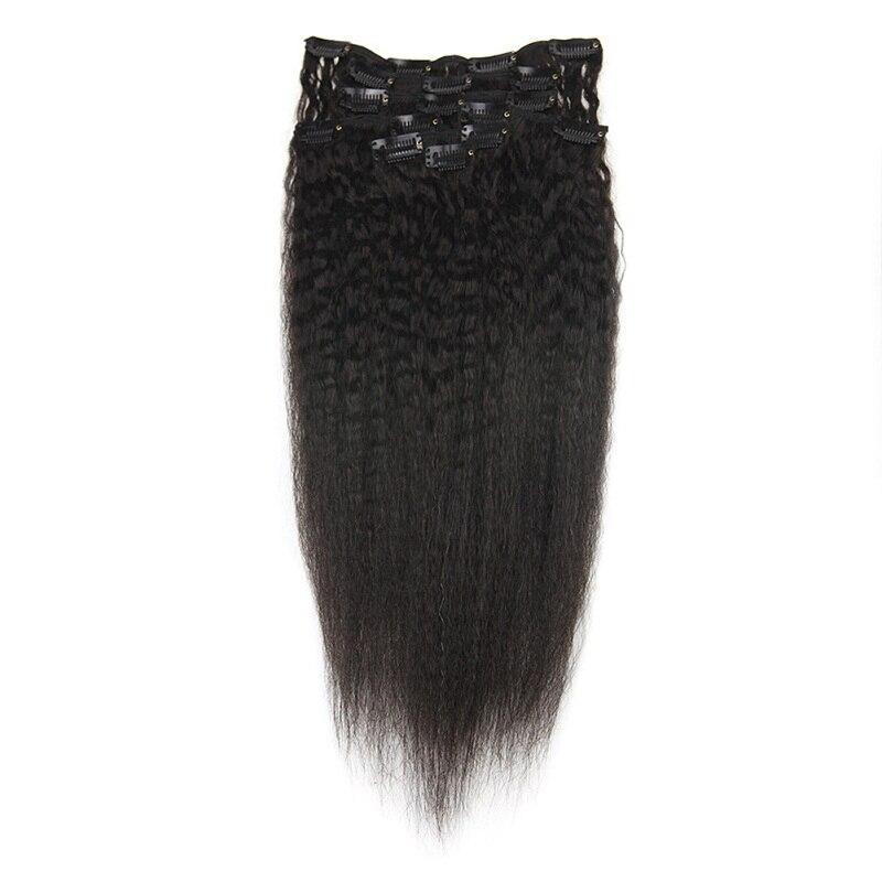 Полный блеск афро кудрявые человеческие волосы для наращивания на заколках волосы Remy для афро женщин натуральный черный цвет 7 шт. 100 г - Цвет: Kinky Straight