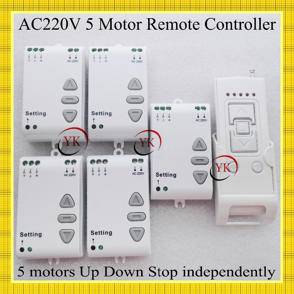AC220V 500W Motor Forwards Reverse Remote Controller Motor Wireless Up Down Stop Remote Switch 5Motor Up Down Stop IndependentlyAC220V 500W Motor Forwards Reverse Remote Controller Motor Wireless Up Down Stop Remote Switch 5Motor Up Down Stop Independently