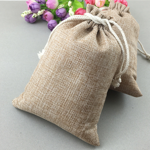 Image 5 - 50pcs Vintage Natural Burlap Hessia Gift Candy Bags Wedding Party Favor Pouch Birthday Supplies Drawstrings Jute Gift Bags