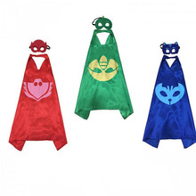 Pj Masks 2017 New 2pcs/set PJ Masks Role-play Cloak Cape and Mask Owlette Catboy Gecko Cosplay Action Toys for Children