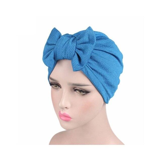 c1d90ffc0dc 2018 Fashion Chemo Hair Cap Soft Snood Hat Women Big Bow Cap Turban Hat  Headdress Bow