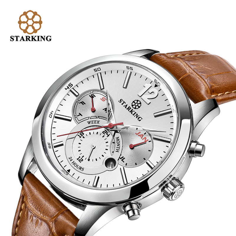 ФОТО STARKING Brown Genuine Leather Sport Watches 2017 Russian Military Watches Army Men's Wristwatch 30M Water Resistant Urdu BM0947