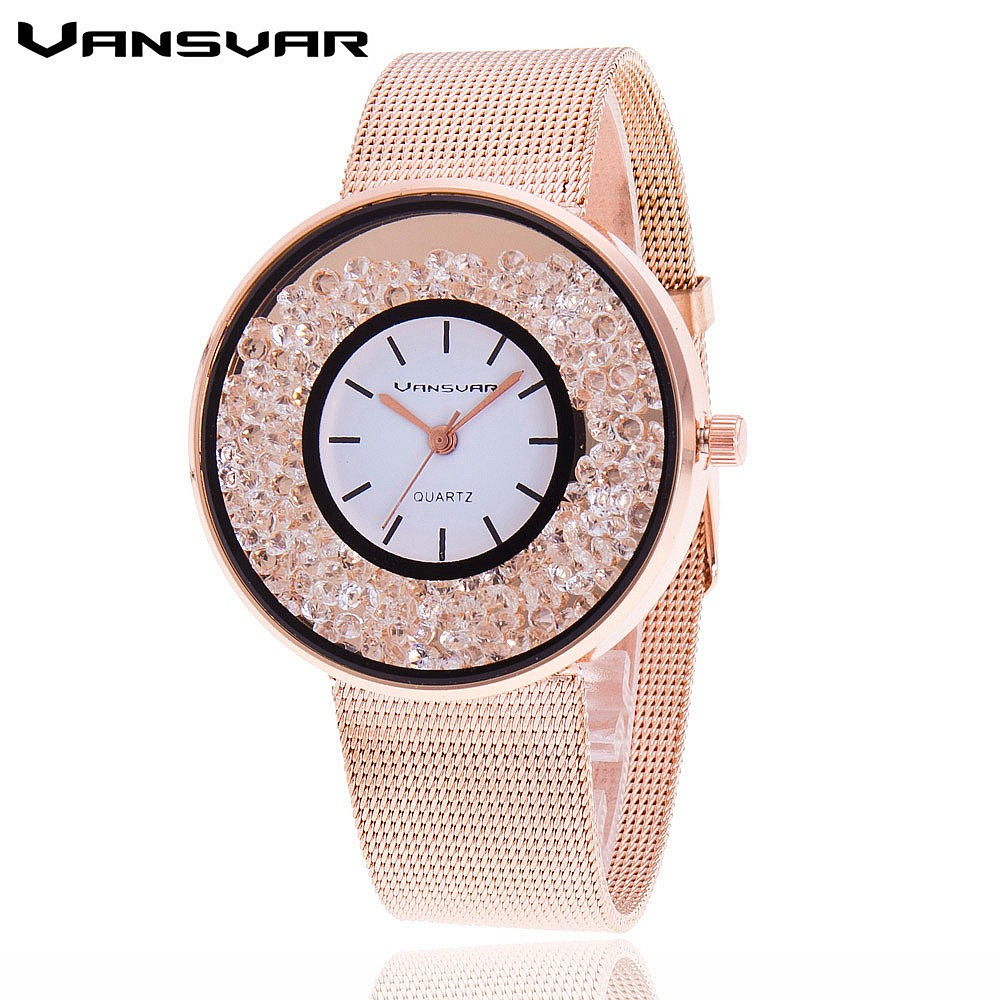 Women Rhinestone Watch in Stainless Steel Rose Gold