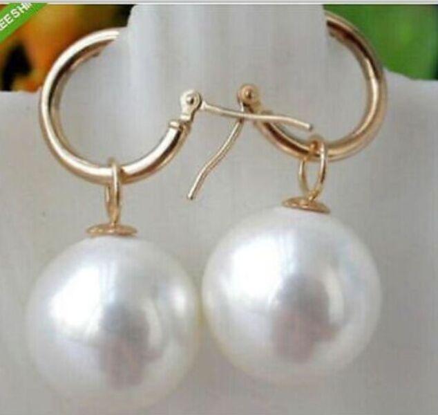 Encanto del Sur mar AAA10-11mm redondo blanco perla cuelga el pendiente 14 K