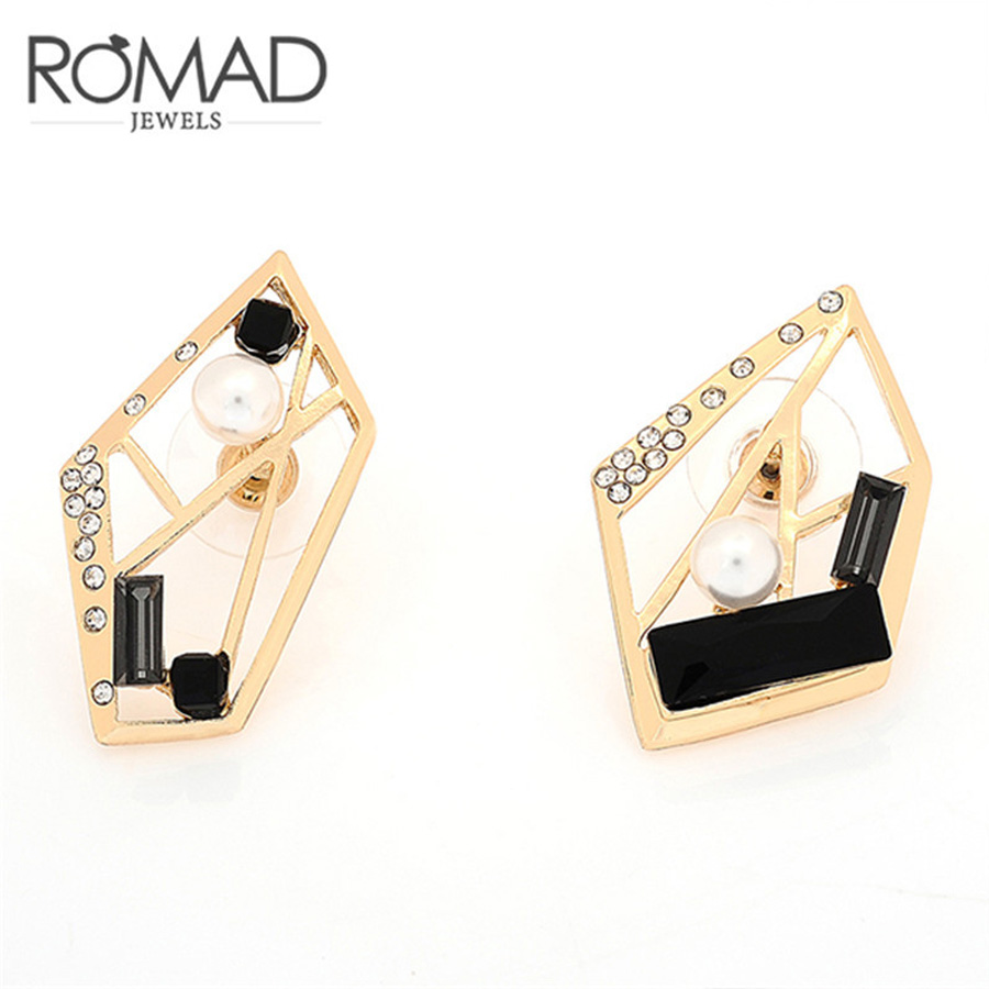 925 Silver Pearl Geometry Triangle Earrings Charm Rose Gold-color Beads Earrings Women Party Jewelery Birthday Brincos A0265