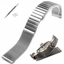 18 20 22 24 MM Black Silver IW Stainless Steel Time Walker Watchband Mesh Bracelet Strap Replacement Wrist Milan Watch Band все цены