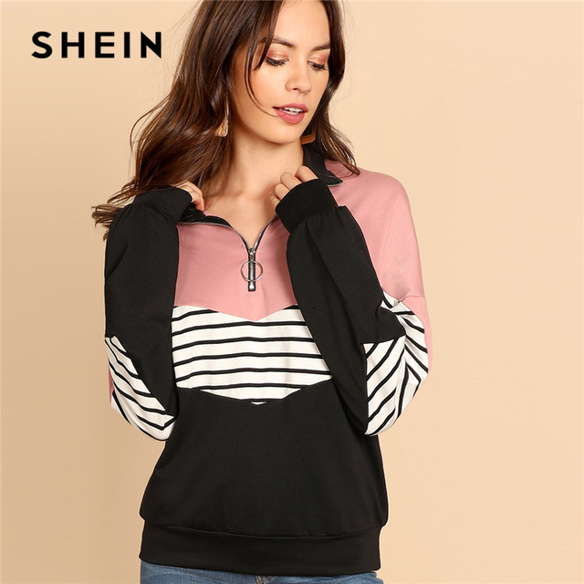 a88abd8c73 SHEIN O-Ring Zip Front Cut and Sew Sweatshirt Preppy Striped Stand Collar  Long Sleeve