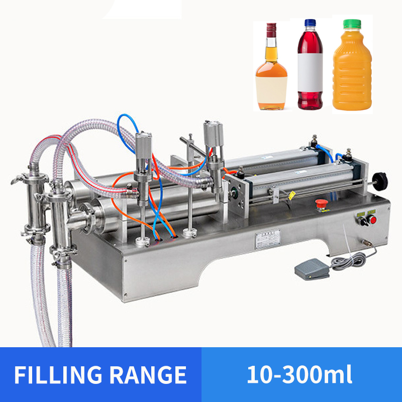 YTK SALE 10-300ml Double Head Liquid Or Softdrink Electric Pneumatic Filling Machine YS-DD370-03