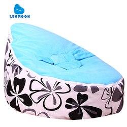 Levmoon ewha média impressão saco de feijão cadeira crianças cama para dormir portátil dobrável assento criança sofá zac sem o enchimento