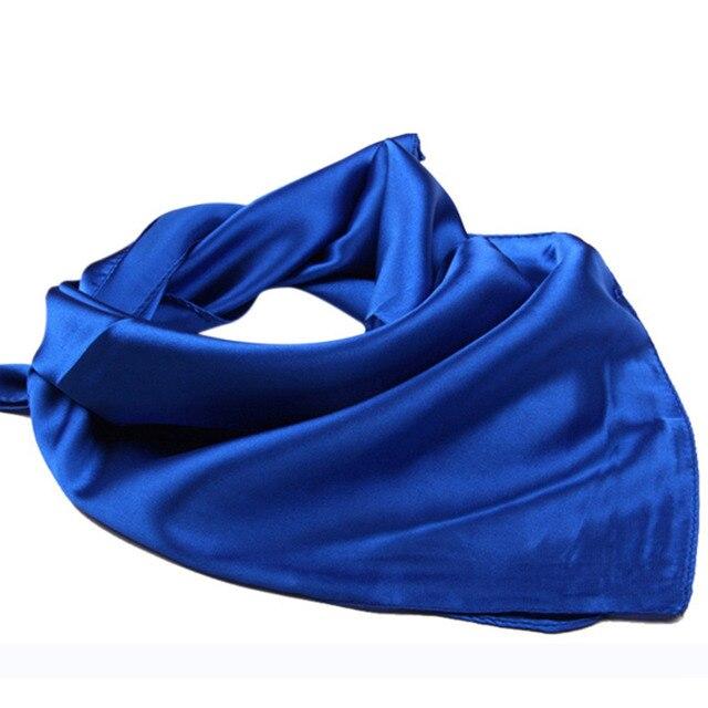 Venta caliente Pequeña Plaza Pañuelo de Satén De Seda Artificial Bufanda para Las mujeres de las Señoras Bufandas Pañuelo 60 cm * 60 cm Color sólido