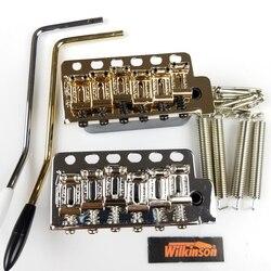 جيتار كهربائي من ويلكنسون ST مع نظام تريمولو جسر + سروج معدني منحني WV6 كروم فضي وذهبي