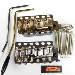 ويلكنسون ST الغيتار الكهربائي اهتزاز نظام الجسر + عازمة السروج الصلب WV6 الكروم الفضة الذهب