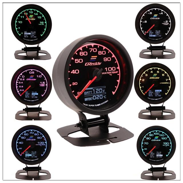GReddi Multi D/A LCD Digital Display Turbo Boost Gauge Car Gauge 2.5 Inch 60mm 7 Color in 1 Racing Gauge