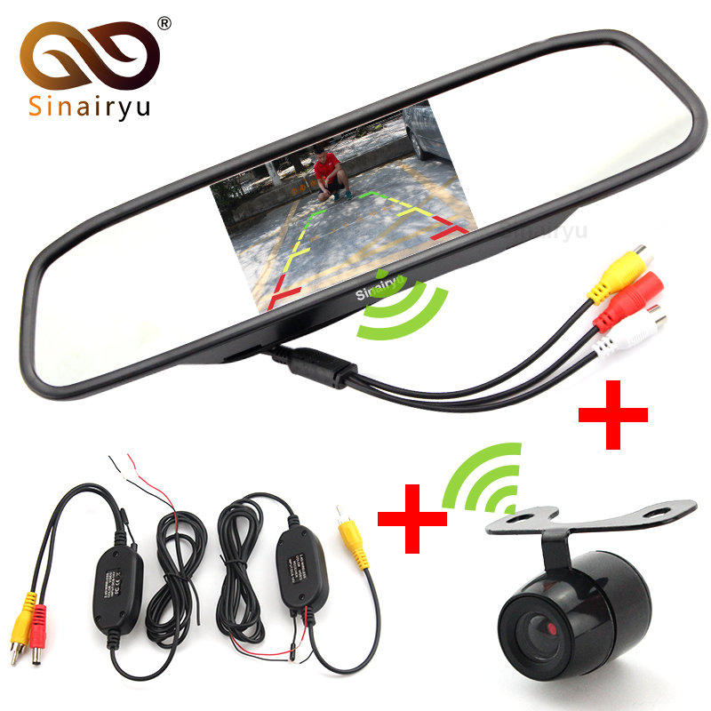 Sinairyu Auto Parking Assistance Wireless Camera Monitor, Wireless 4.3 Rearview Mirror Monitor With Rear view Camera sinairyu car parking assistance system 7 mp5 rearview mirror monitor support sd usb fm radio with night vision rear view camera