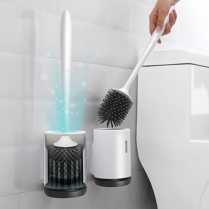 Silicone Toilet Brush With Holder Set Plastic Toilet Bowl Brush Wall-mounted Or Floor-Standing Bathroom Toilet Cleaning Brush