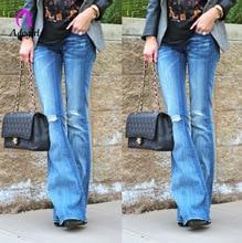 Black Jeans High Waist Vintage Long Flare Leg Jeans Women Zipper Fly Retro Stretchy Blue Denim Pants 2019 Work Casual Trousers