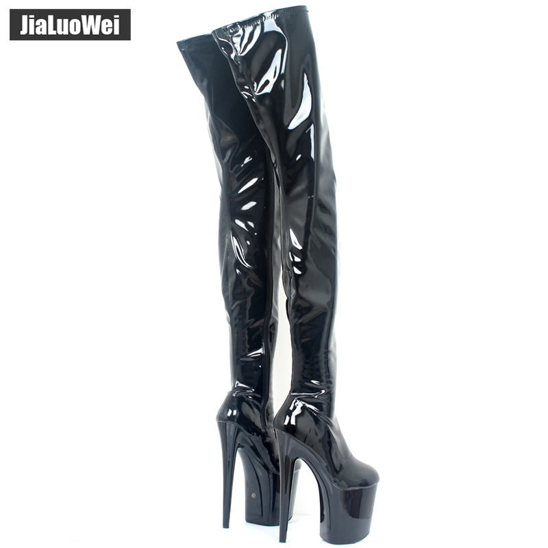 look for outlet on sale stable quality jialuowei PVC Thigh High Boots 2018 High Heel Platform Over-the ...