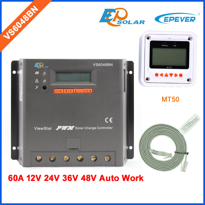 60A EPEVER New ViewStar series Solar power bank controller for small home system VS6048BN MT50 remote Meter LCD display Screen-in Solar Controllers from Home Improvement