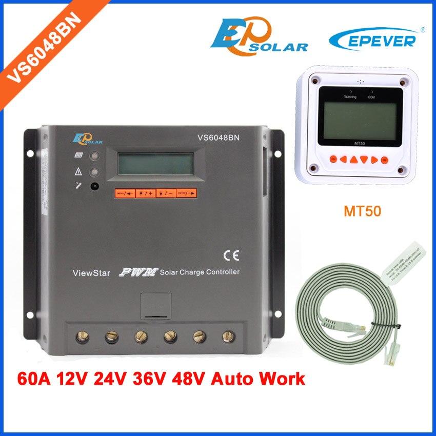 60A EPEVER nouveau contrôleur de batterie portable solaire série ViewStar pour petit système domestique VS6048BN MT50 compteur à distance écran d'affichage LCD