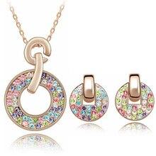 2016 Conjuntos Collar Aretes de Joyería de Moda Para Las Mujeres Collares De Cristal De Colores Colgantes de Oro Rosa Plateado