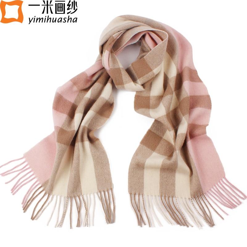 2016 Winter fashion plaid thick lamb wool scarf for women pink tassel font b tartan b