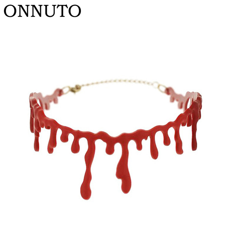 Halloween Cutting Bloodstain Necklace Choker Cosplay Accessories Party Decor